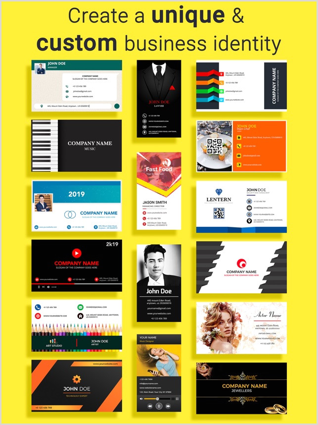 Design And Print Your Own Business Cards Business Card Maker Creator On The App Store