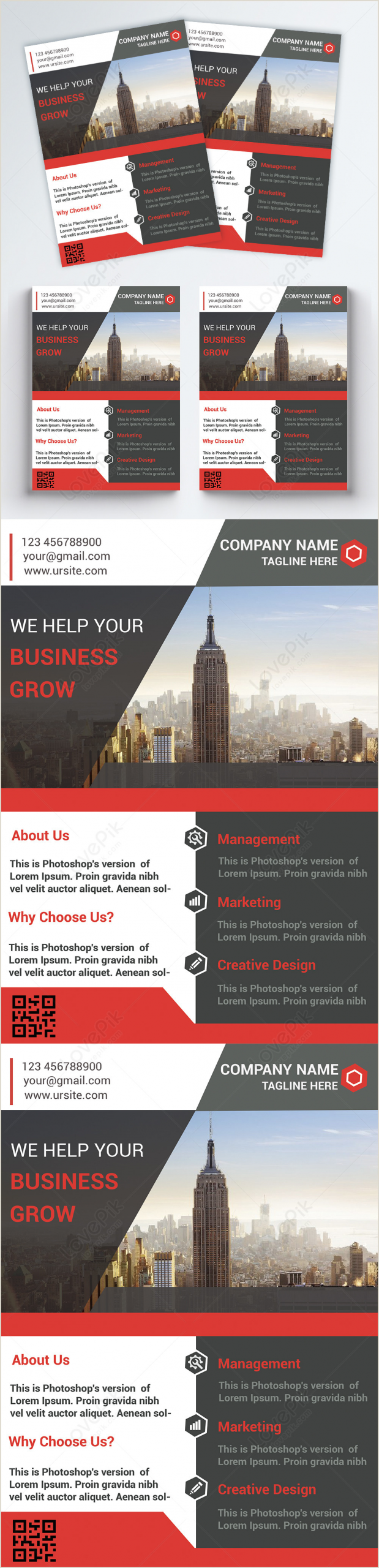 Fold Over Business Card Template Fashion Red Business Office Business Class Flyer Template