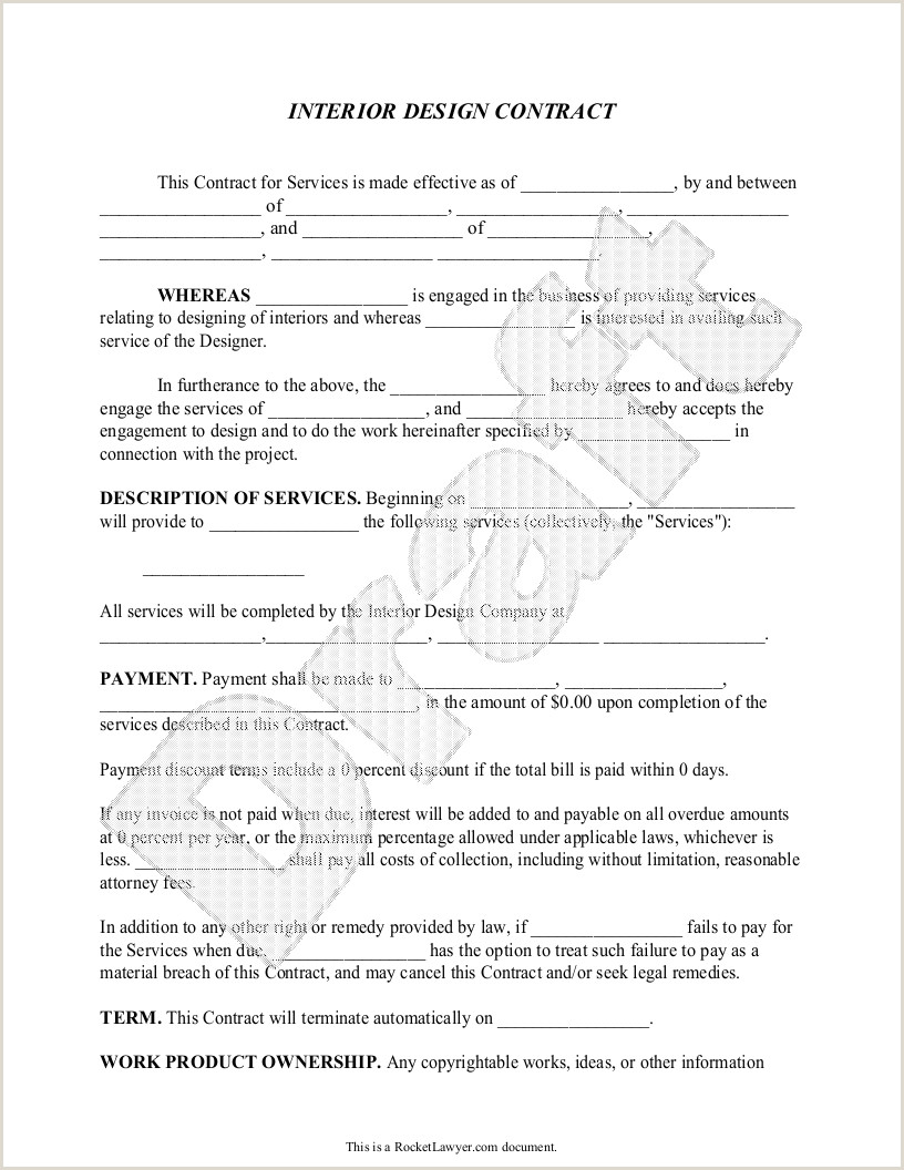 Free Paper Samples For Designers Interior Design Contract Agreement Template With Sample