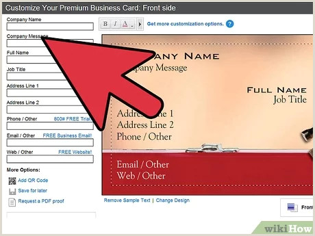 Front And Back Business Cards 3 Ways To Make A Business Card Wikihow