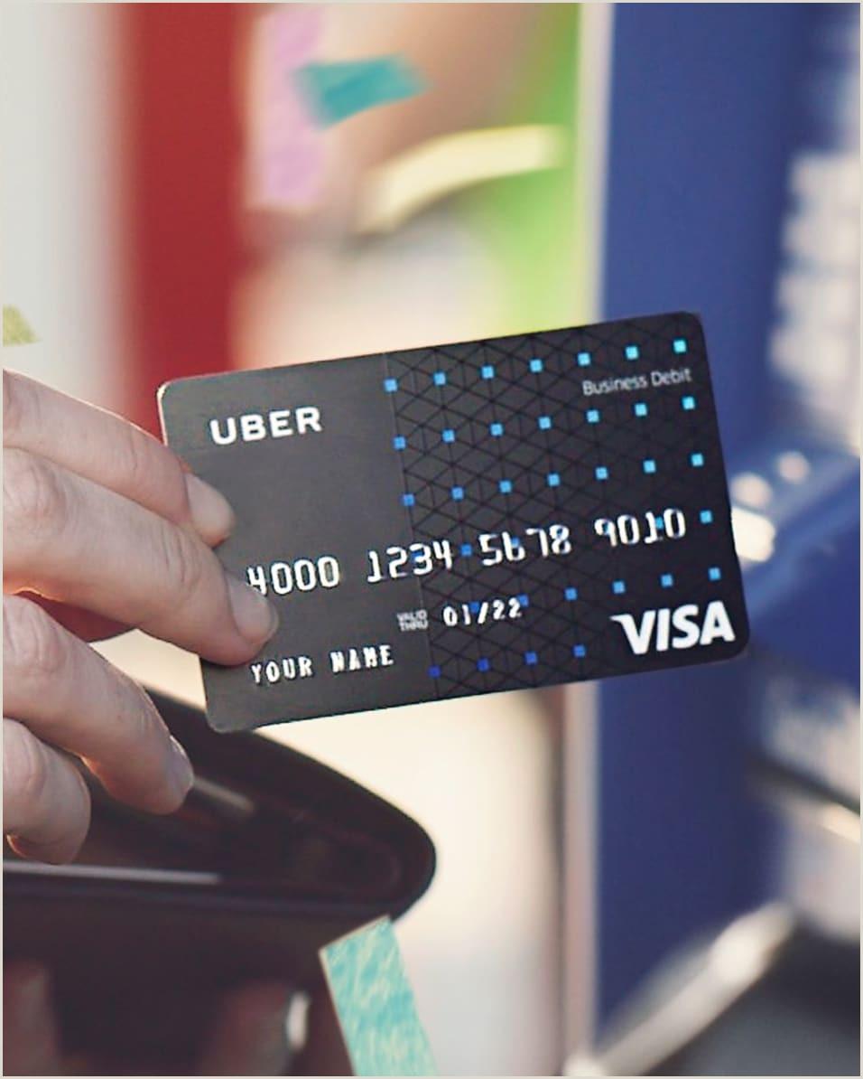 Front And Back Business Cards The Uber Visa Debit Card