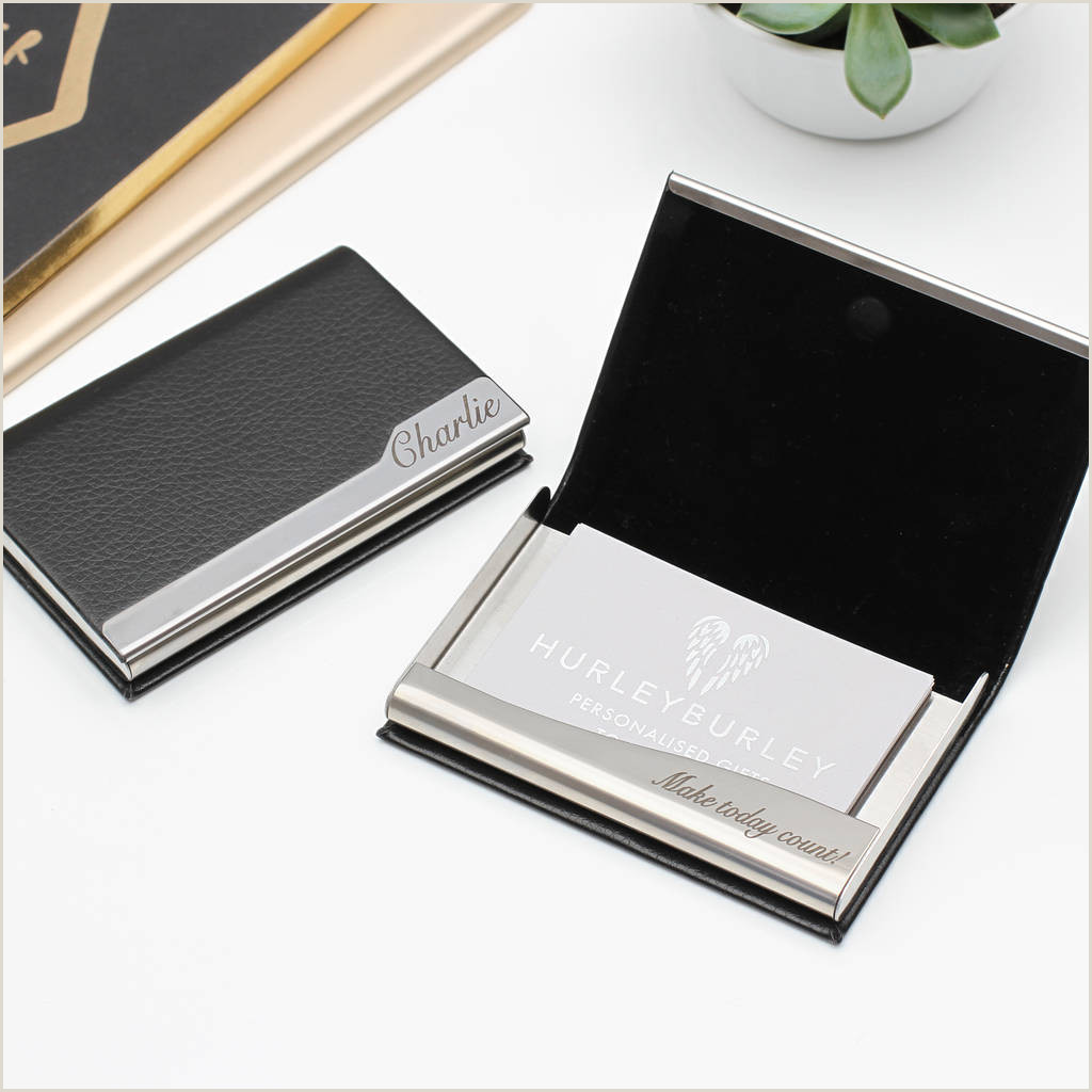 Front Of Business Card Personalised Leather Business Card Holder