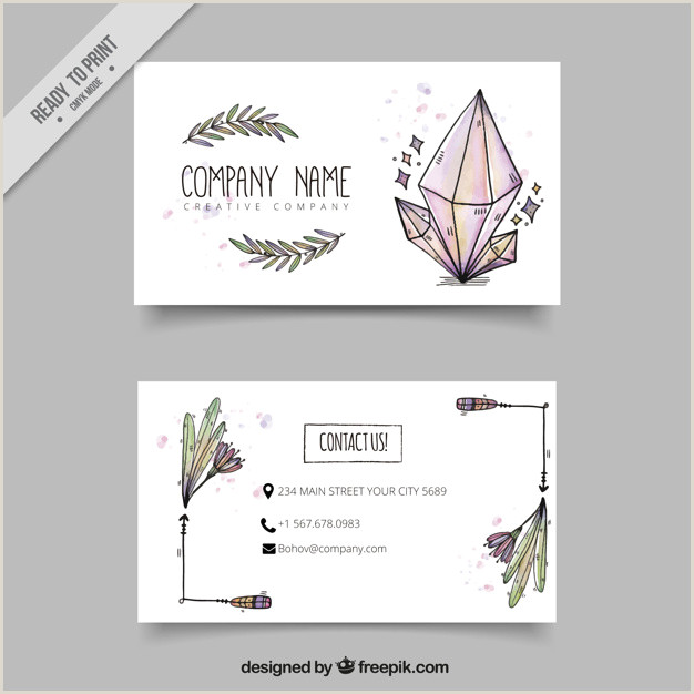 Hand Drawn Business Cards Download Vector Business Card With Hand Drawn Boho