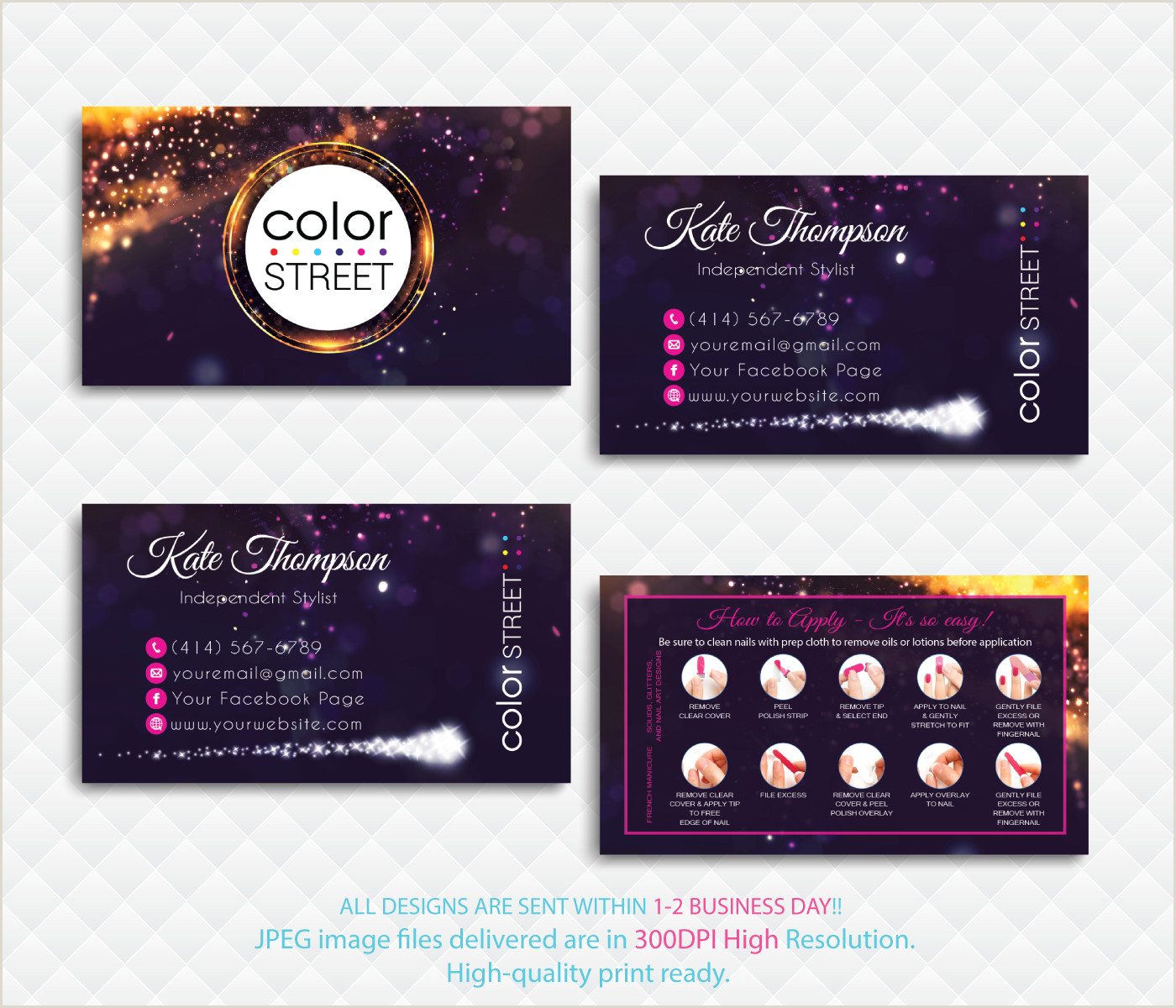 How Many Business Cards Fit On A Page Color Street Application Cards Color Street Business Card