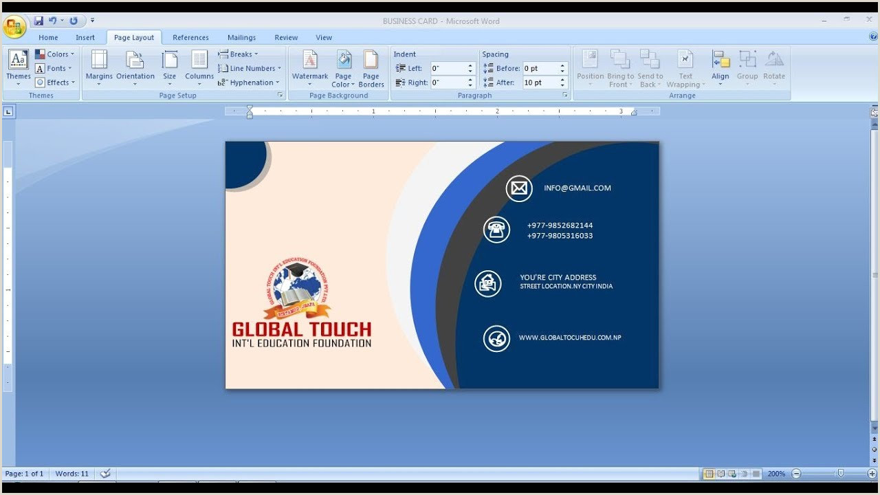 How To Design Business Cards On Word How To Make Business Card Design In Ms Word