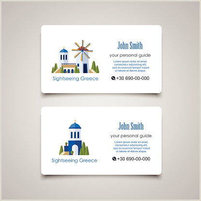 How To Make A Buisness Card Greece Landmarks Guide Business Card Design Template Stock Illustration Download Image Now