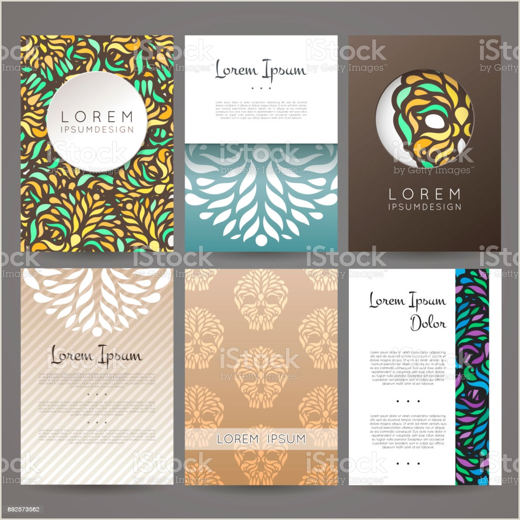 How To Make A Buisness Card Set Vector Design Templates Business Card With Floral Ornament Stock Illustration Download Image Now