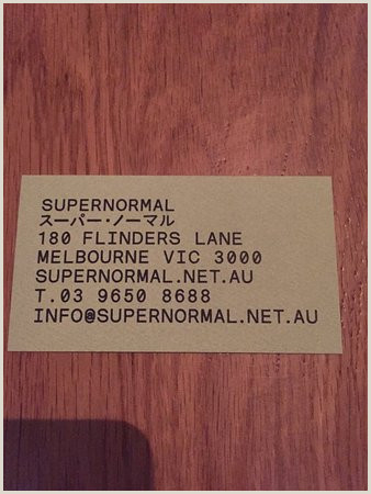 Info On A Business Card Business Card Picture Of Supernormal Melbourne Tripadvisor