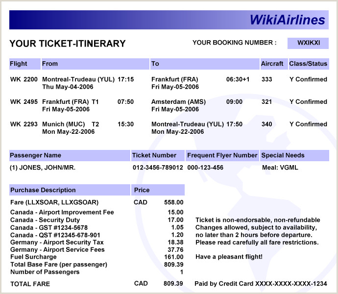 Information Card Template Electronic Ticket