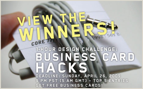 Life Hacks Best Business Cards 1 Hour Design Challenge Winners Business Card Hacks Core77
