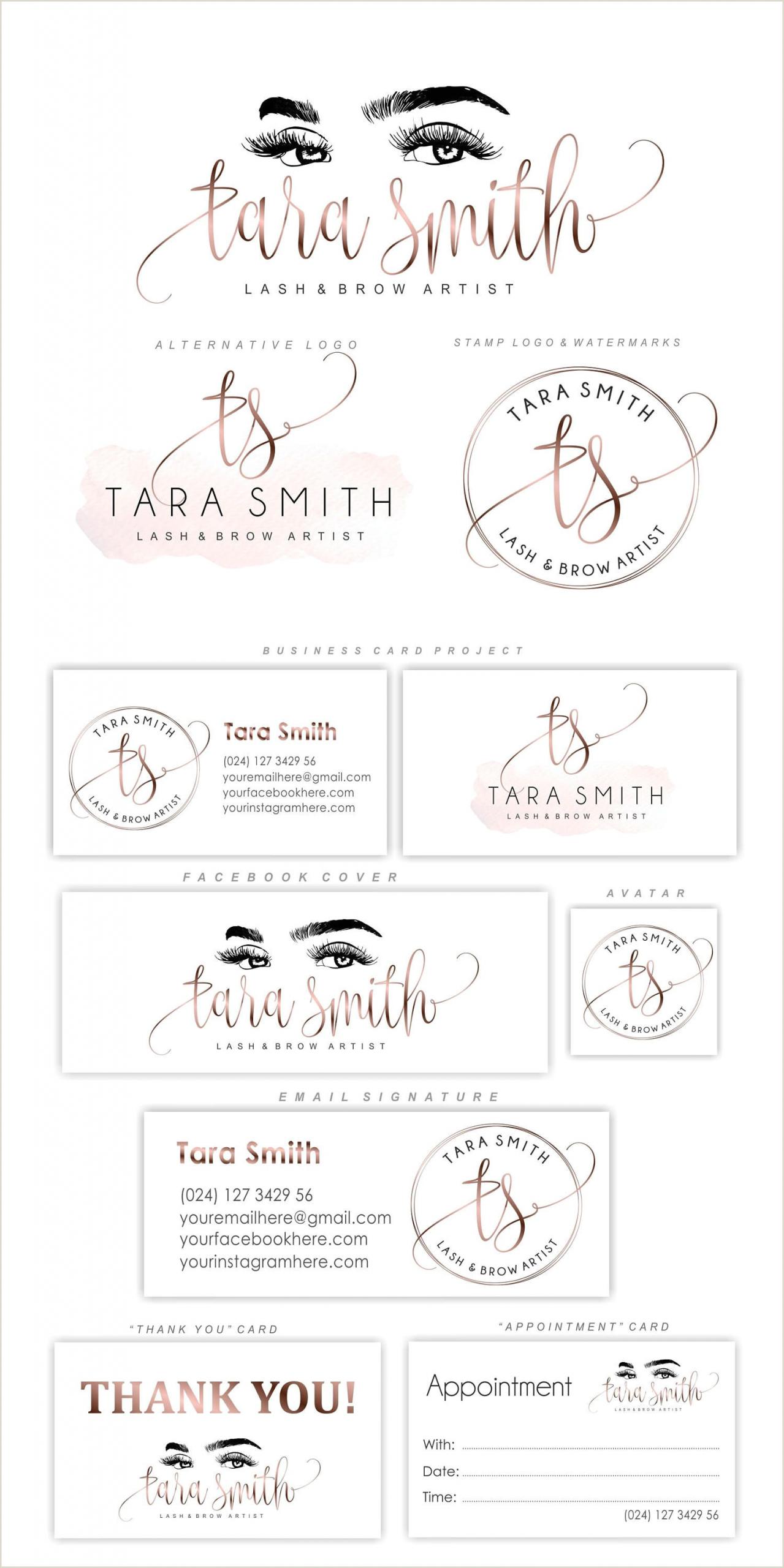 Makeup Business Card Ideas Lash Logo Design Eyelash Branding Kit Lash Extensions Logo