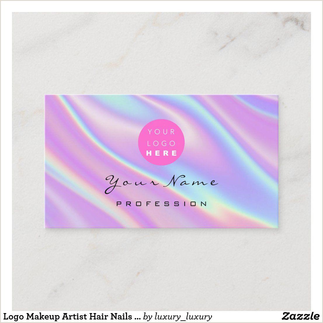 Makeup Business Card Ideas Logo Makeup Artist Hair Nails Holograph Abstract Business