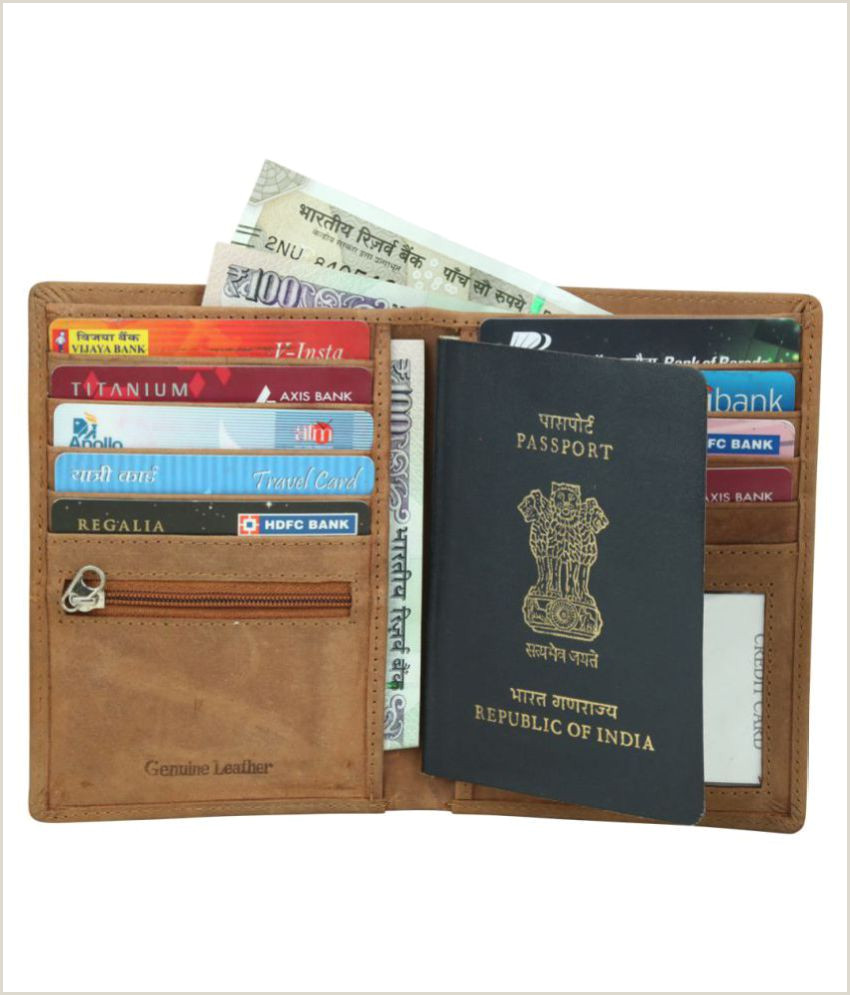 Name Card Online Style 98 Bi Fold Tan Travel Card Holder