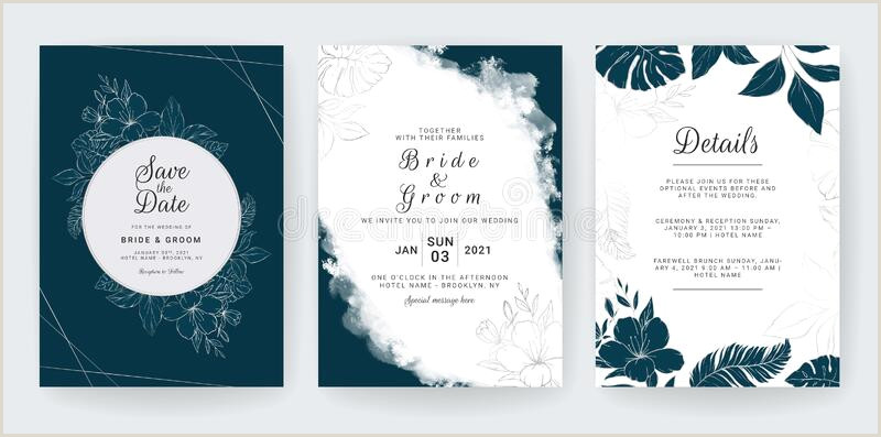 Name Card Template Wedding Modern Navy Blue Wedding Invitation Card Template With