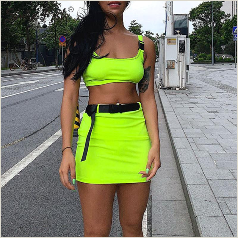 Neon Green Business Cards 2020 Summer Buckle Sets Crop Top Skrit Set Two Sets Women Streetwear Fashion Neon Green Tracksuits Harajuku Outfit Belt Gv625 From Hoto $19 19