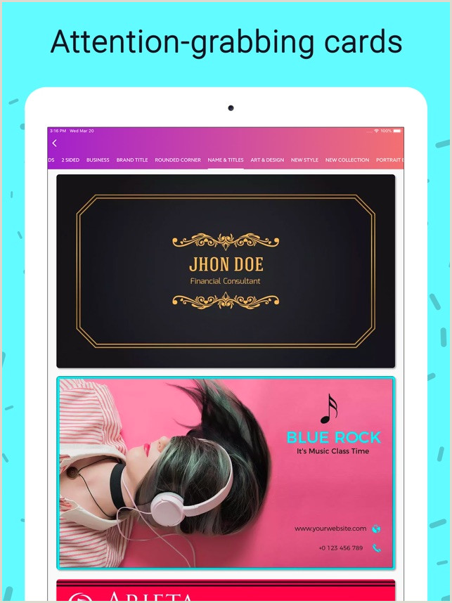 One Color Business Cards Business Card Maker Creator On The App Store