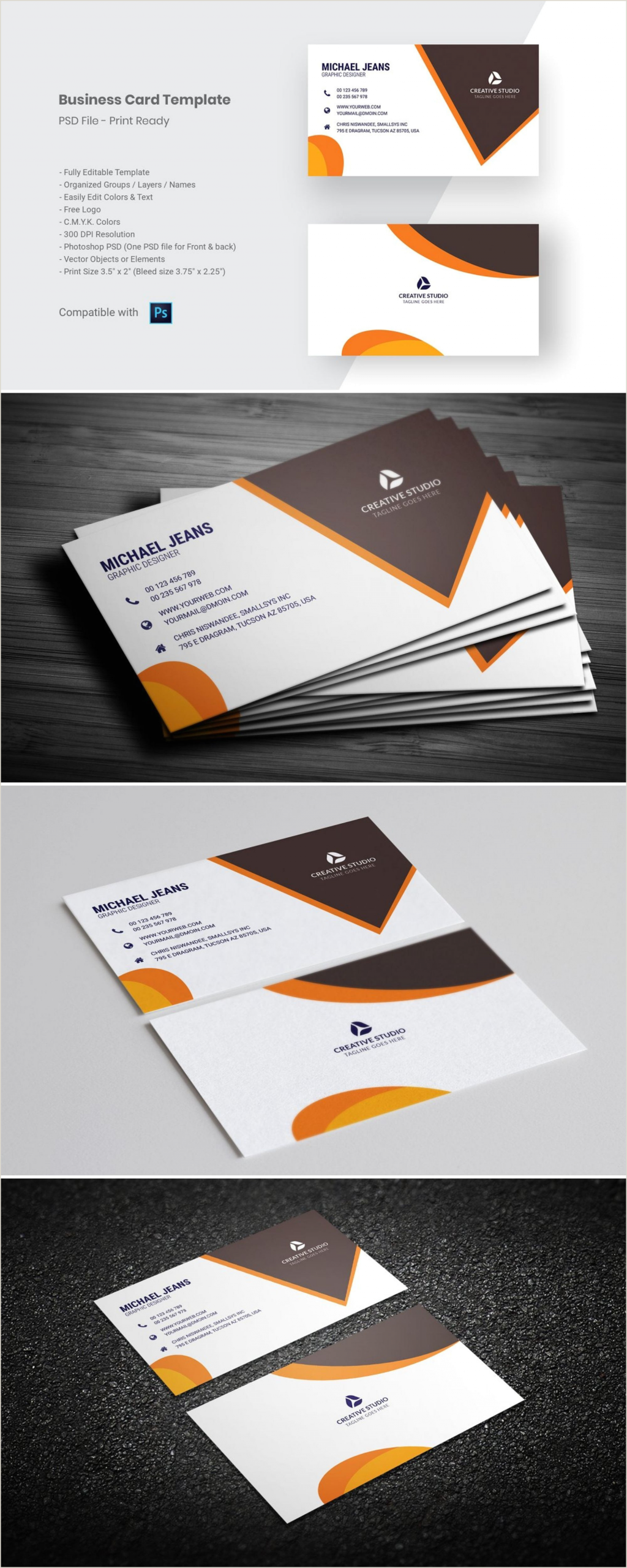 One Color Business Cards Modern Business Card Template