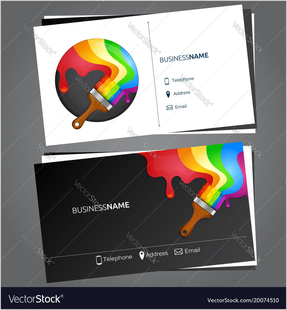 Painting Logos For Business Cards Painting Business Card Vector Image