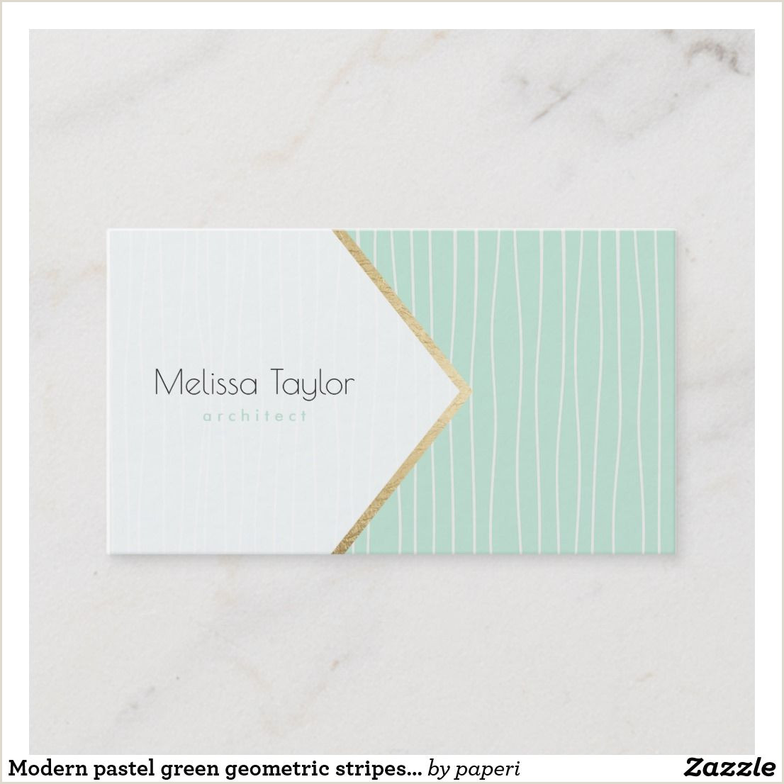 Pastel Business Cards Modern Pastel Green Geometric Stripes Architect Business