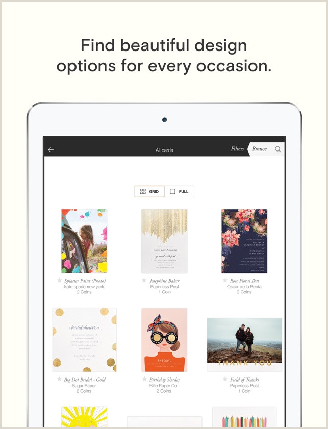 Personal Calling Cards Online Paperless Post Invitations On The App Store