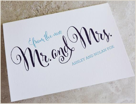 Personal Cards Designs 150 Wedding Thank You From The New Mr Mrs Personalized Brush Script Thank You Note Card