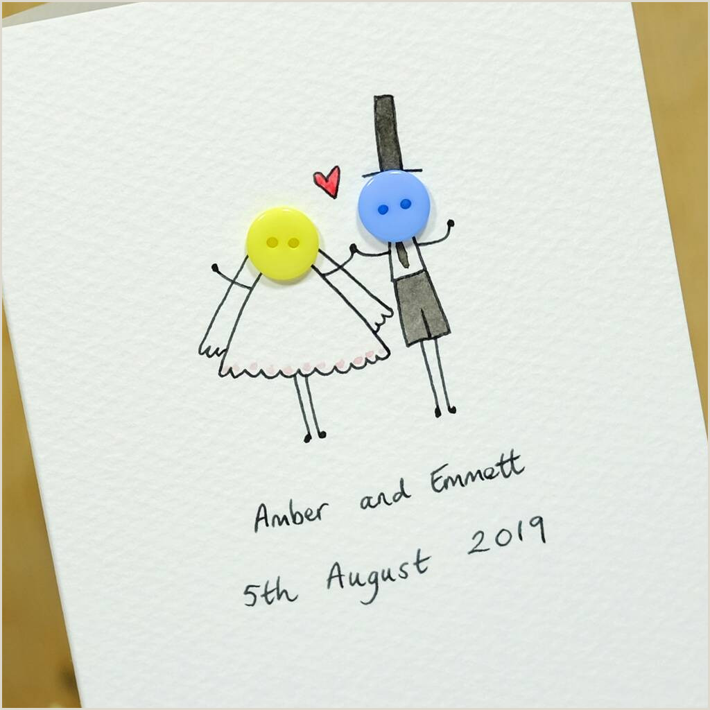 Personal Cards Designs Personalised Button Wedding Hand Illustrated Card