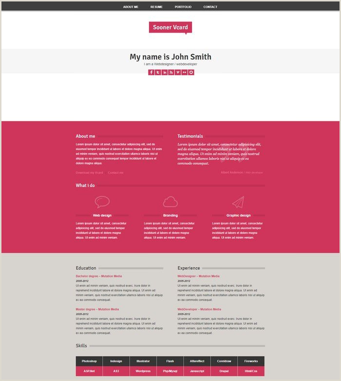 Personal Information Cards Template 32 Best Personal HTML Psd Vcard Templates 2020 Templatefor