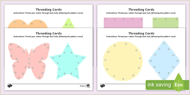 Personal Information Cards Template Threading Cards Templates Fine Motor Skills Resource