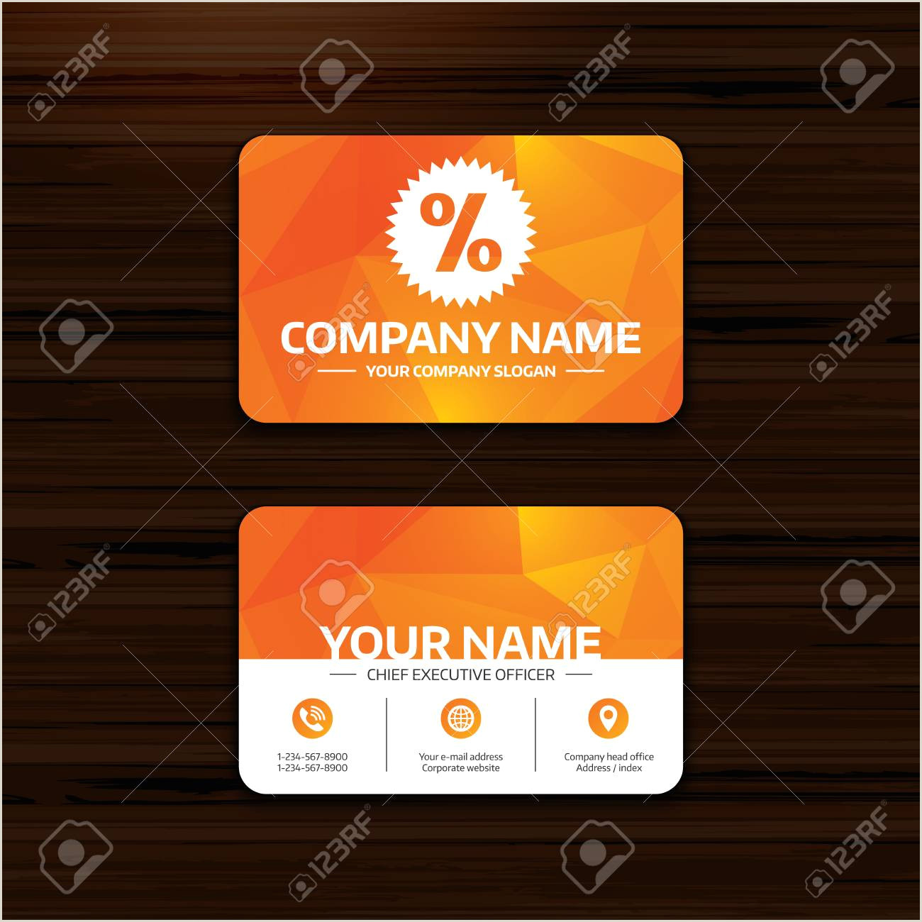 Phone Icon For Business Cards Business Or Visiting Card Template Discount Percent Sign Icon