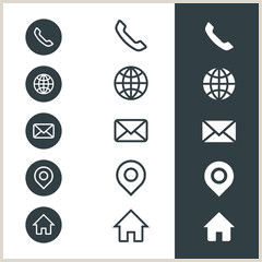 Phone Symbol For Business Card Business Card Icons Telephone Website Email Location