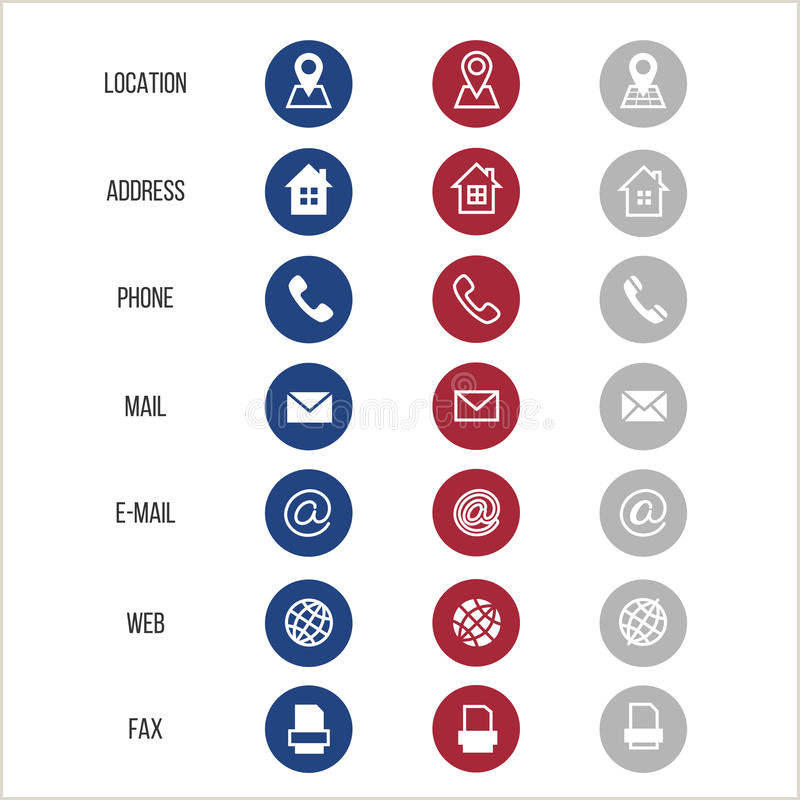 Phone Symbol For Business Card Business Card Vector Icons Home Phone Address Telephone