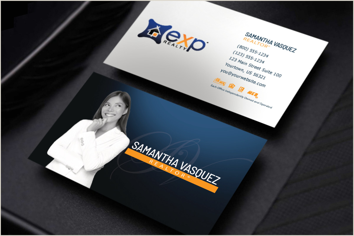 Photo Business Cards Online Exp Realty New Designs Just For You 🧡💙 Realtor Exp