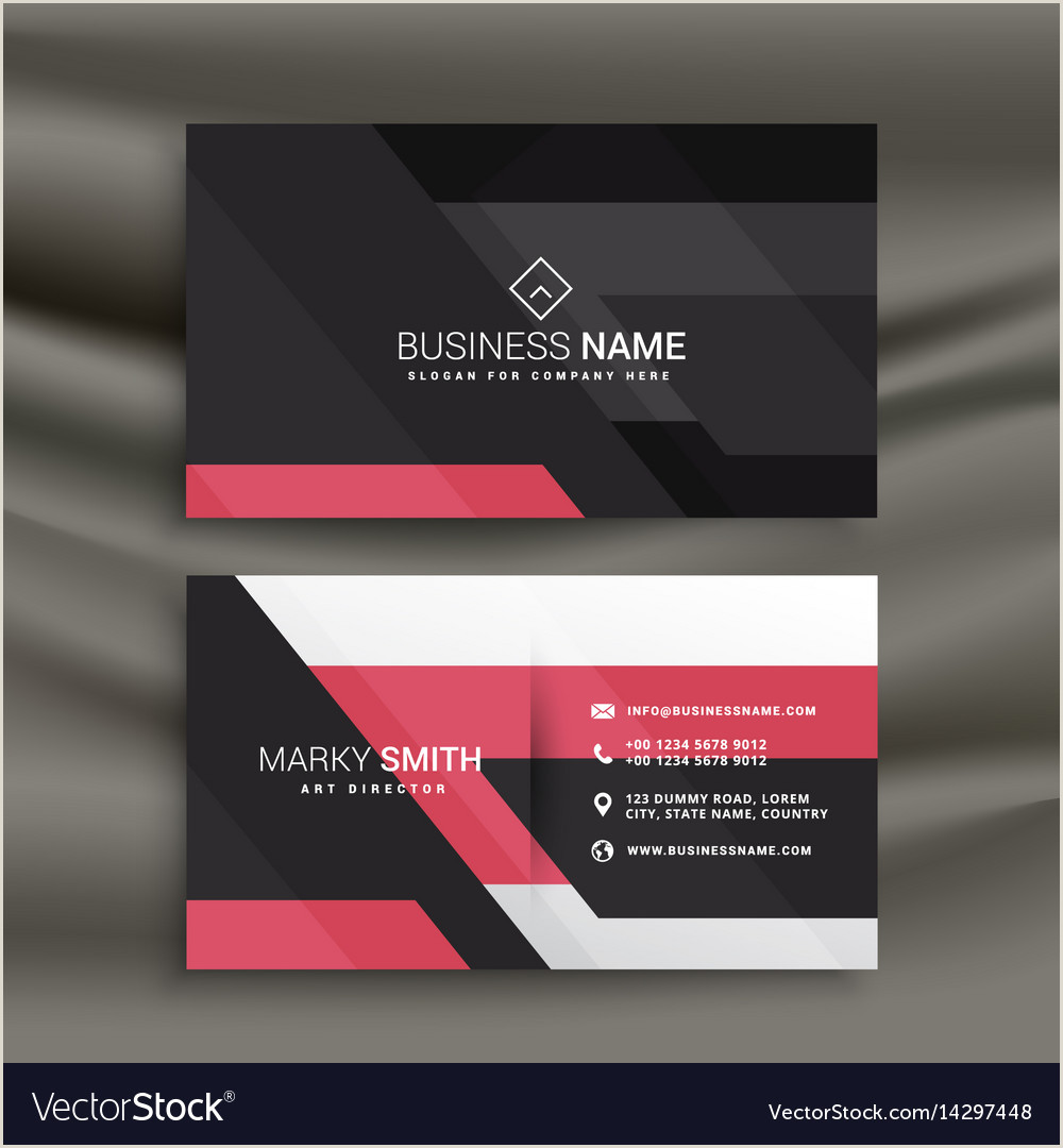 Pink And Black Business Cards Abstract Pink And Black Business Card Design