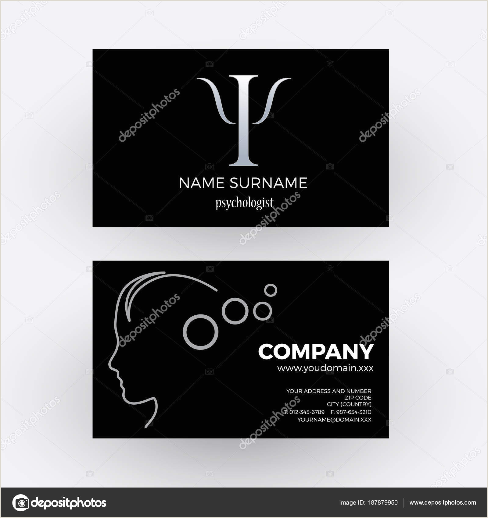 Psychologist Unique Business Cards Vector Abstract Psychologist Business Card In Black