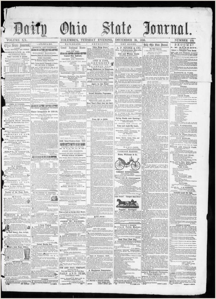 Reddit Churning Best Business Cards Daily Ohio State Journal Columbus Ohio 1848 1856 12 30