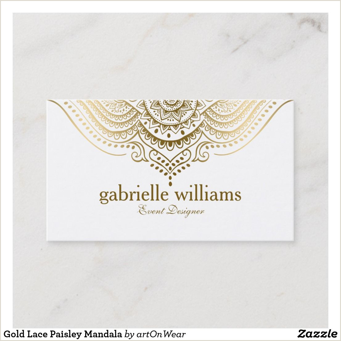 Referral Business Cards Unique Gold Lace Paisley Mandala Business Card