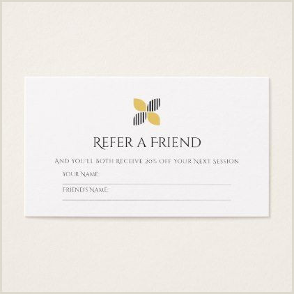 Referral Business Cards Unique Modern Friend Referral Chic Black Gold Logo