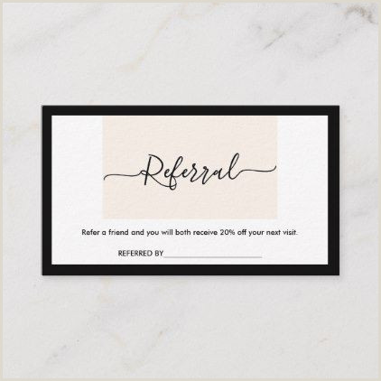 Referral Business Cards Unique Modern Minimalist Clean Elegant Calligraphy Refer Business