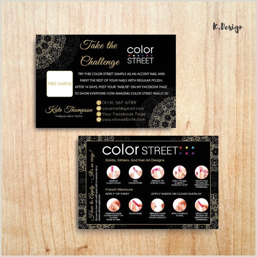 Sample Artist Business Cards Personalized Color Street Twosie Cad Color Street Challenge Cl11