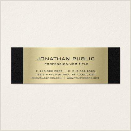 Simple Professional Business Cards Elegant Black Gold Chic Simple Professional Plain Mini