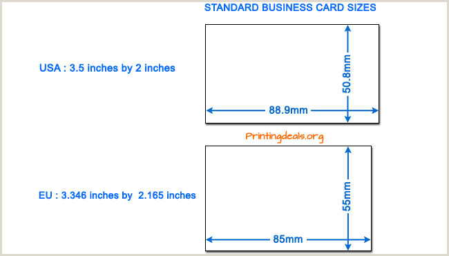 Size Of Normal Business Card Business Card Sizes