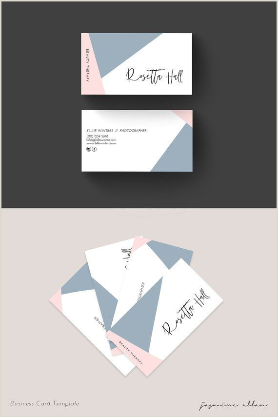 Sleek Business Card Designs Geo Business Card Editable Template Blush Pink And Blue