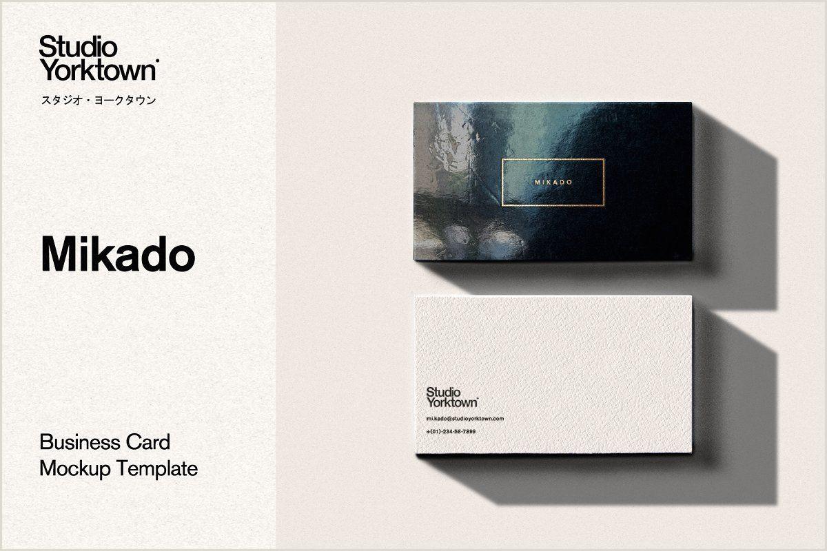 Square Unique Business Cards Mikado Business Card Mockup Template