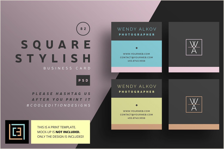 Square Unique Business Cards Square Stylish Business Card Bc082