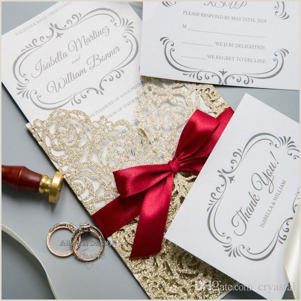 Thank You Business Cards Wording Gorgeous Glitter Gold Laser Cut Wedding Invitation Cards Greeting Card Business Invitation Card With Ribbon And Envelope Wedding Invitations With