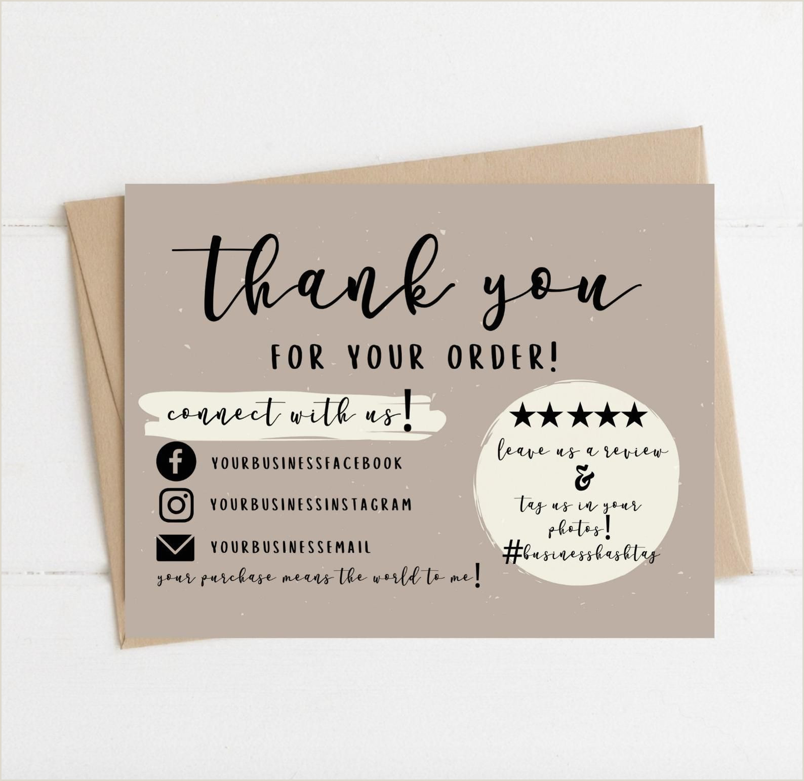 Thank You Business Cards Wording Instant Download Thank You Card Editable And Printable