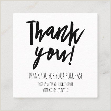 Thank You For Your Business Cards Simple Black White Customer Discount Thank You Square