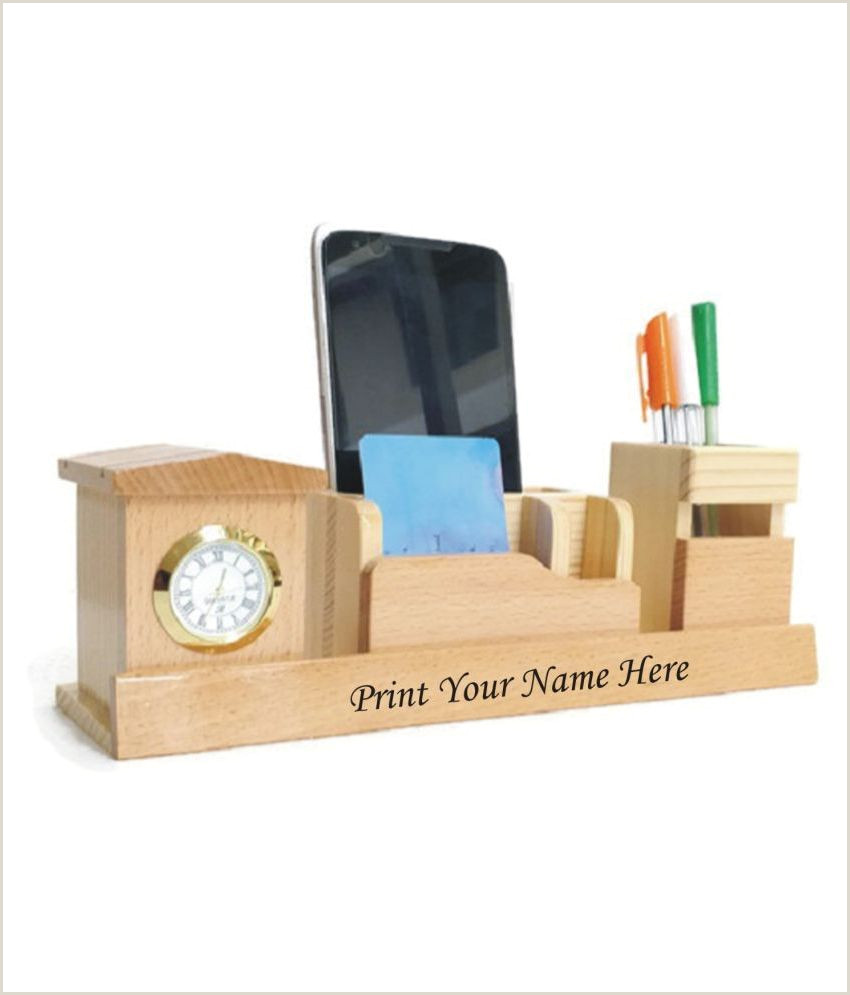 The Best Business Cards Woodworking Shivom Crafts Wooden Pen Holder With Watch Visiting Card Mobile Fone Holder L 26cm B 7 5cm H 8 5cm Multi Color