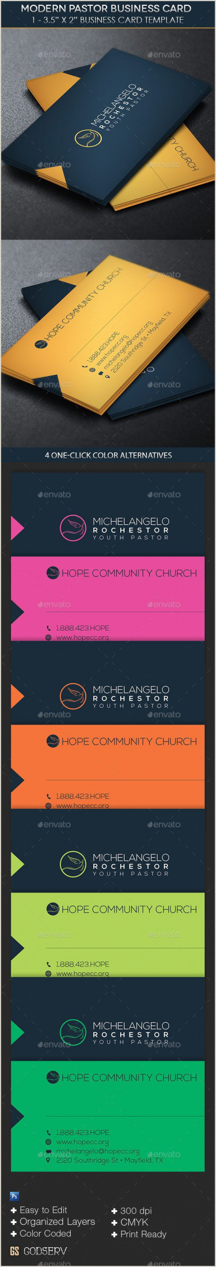 Unique Business Cards Church Or Pastors Modern Pastor Business Card Template