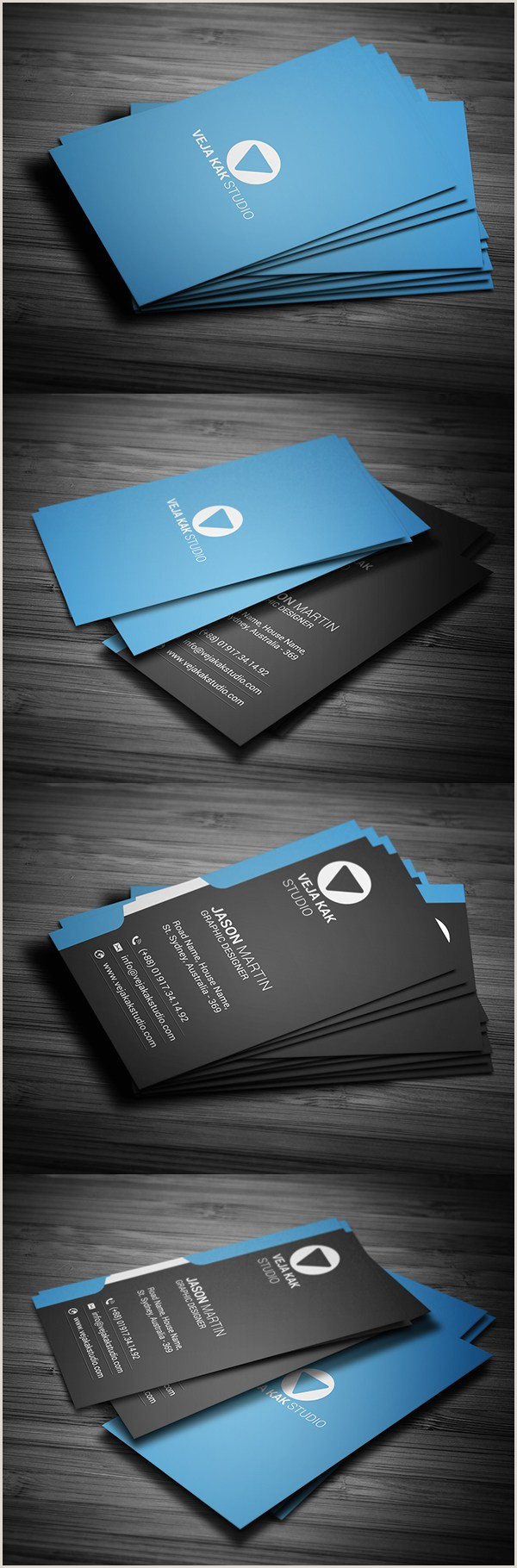Unique Business Cards Design Modern Vertical Business Card